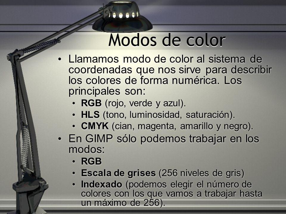 Modos de color Llamamos modo de color al sistema de coordenadas que nos sirve para describir los colores de forma numérica. Los principales son: RGB (