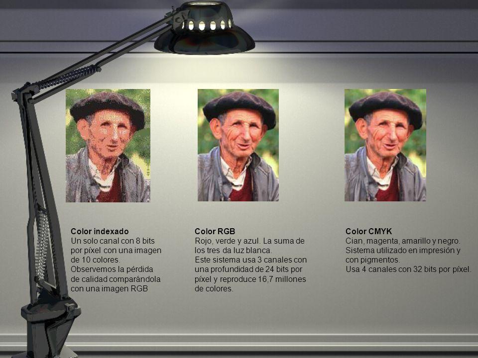 Color indexado Un solo canal con 8 bits por píxel con una imagen de 10 colores. Observemos la pérdida de calidad comparándola con una imagen RGB Color