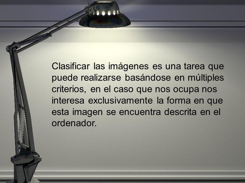 Clasificar las imágenes es una tarea que puede realizarse basándose en múltiples criterios, en el caso que nos ocupa nos interesa exclusivamente la forma en que esta imagen se encuentra descrita en el ordenador.