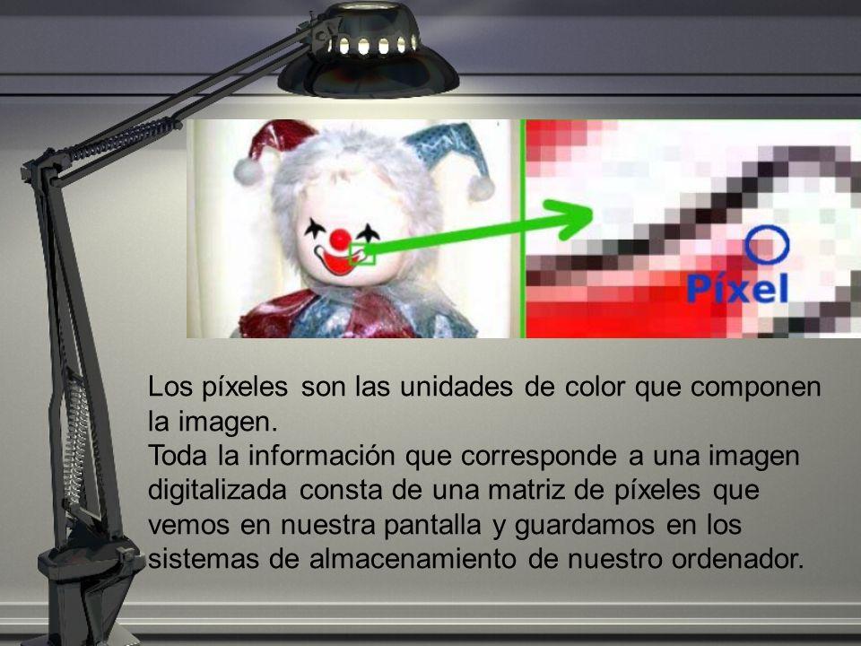 Los píxeles son las unidades de color que componen la imagen. Toda la información que corresponde a una imagen digitalizada consta de una matriz de pí