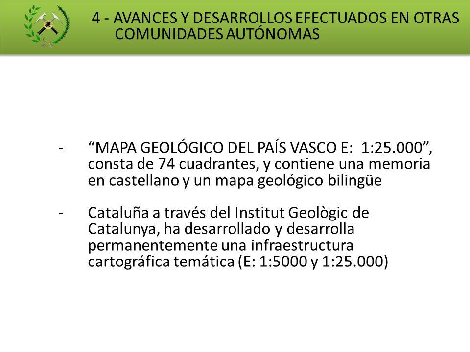 -MAPA GEOLÓGICO DEL PAÍS VASCO E: 1:25.000, consta de 74 cuadrantes, y contiene una memoria en castellano y un mapa geológico bilingüe -Cataluña a tra