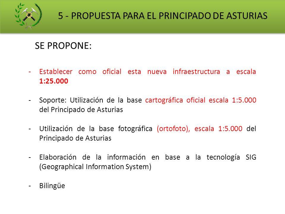 SE PROPONE: 5 - PROPUESTA PARA EL PRINCIPADO DE ASTURIAS -Establecer como oficial esta nueva infraestructura a escala 1:25.000 -Soporte: Utilización d