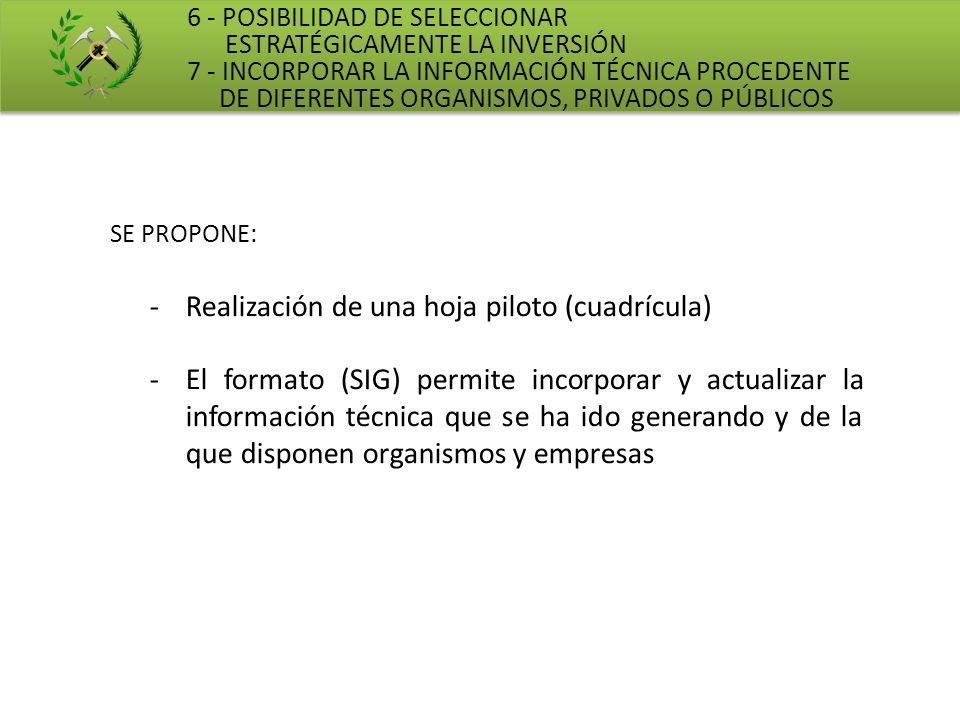 6 - POSIBILIDAD DE SELECCIONAR ESTRATÉGICAMENTE LA INVERSIÓN 7 - INCORPORAR LA INFORMACIÓN TÉCNICA PROCEDENTE DE DIFERENTES ORGANISMOS, PRIVADOS O PÚB
