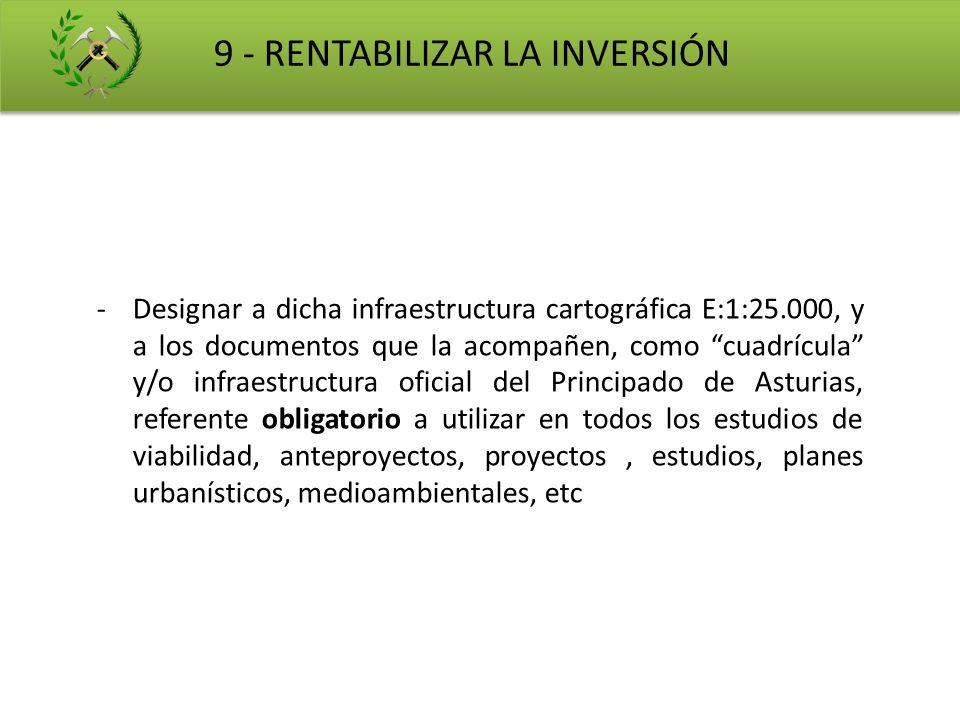 9 - RENTABILIZAR LA INVERSIÓN -Designar a dicha infraestructura cartográfica E:1:25.000, y a los documentos que la acompañen, como cuadrícula y/o infr