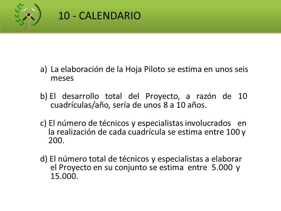 10 - CALENDARIO a)La elaboración de la Hoja Piloto se estima en unos seis meses b) El desarrollo total del Proyecto, a razón de 10 cuadrículas/año, se