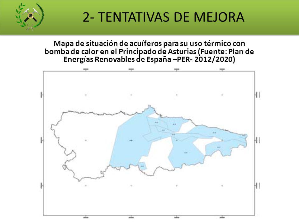 Mapa de situación de acuíferos para su uso térmico con bomba de calor en el Principado de Asturias (Fuente: Plan de Energías Renovables de España –PER