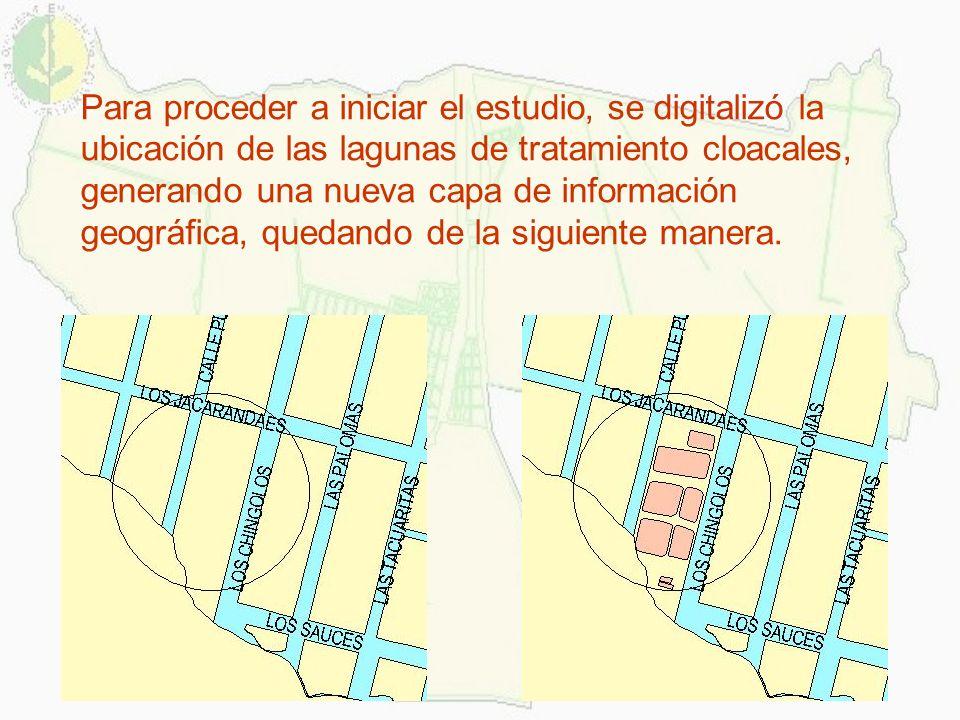 Para proceder a iniciar el estudio, se digitalizó la ubicación de las lagunas de tratamiento cloacales, generando una nueva capa de información geográ