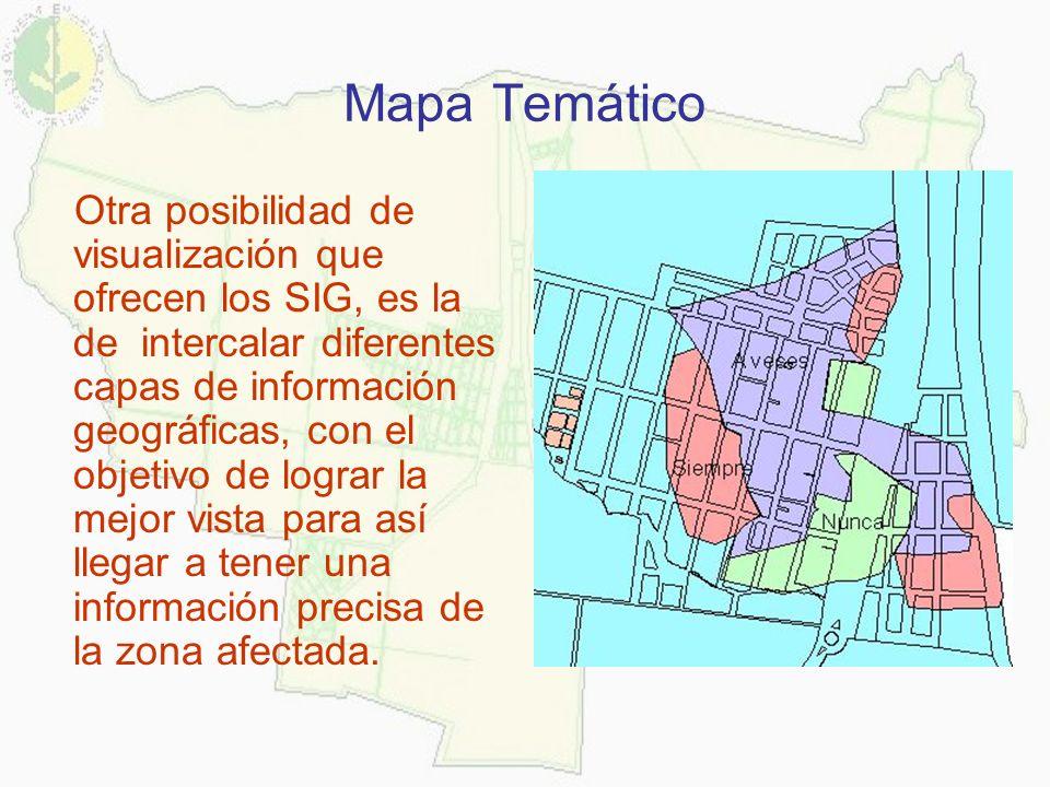 Mapa Temático Otra posibilidad de visualización que ofrecen los SIG, es la de intercalar diferentes capas de información geográficas, con el objetivo