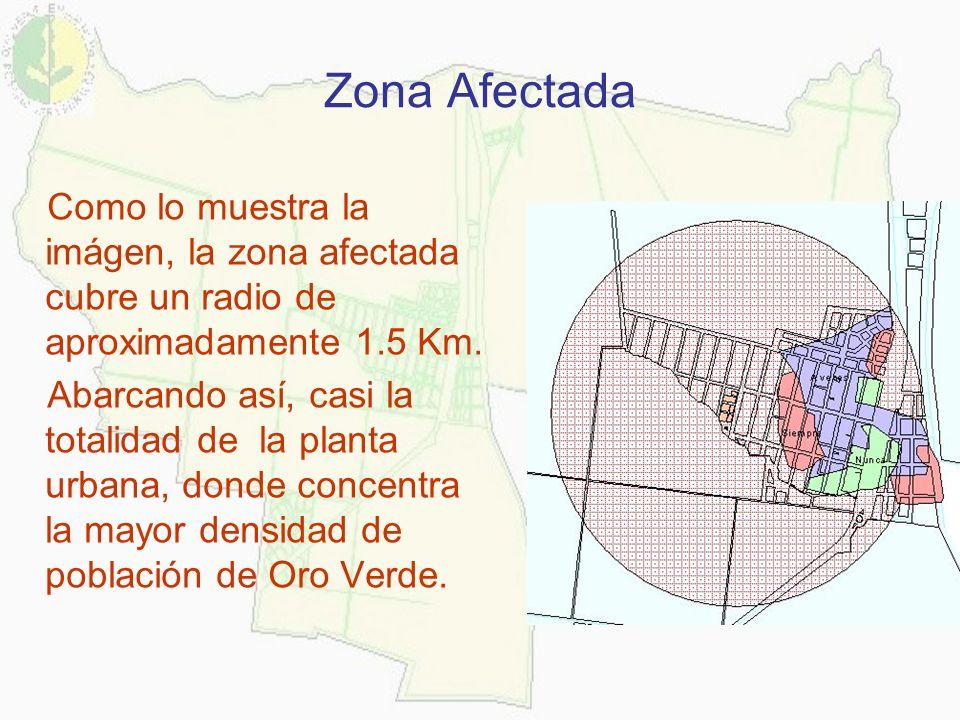 Zona Afectada Como lo muestra la imágen, la zona afectada cubre un radio de aproximadamente 1.5 Km. Abarcando así, casi la totalidad de la planta urba