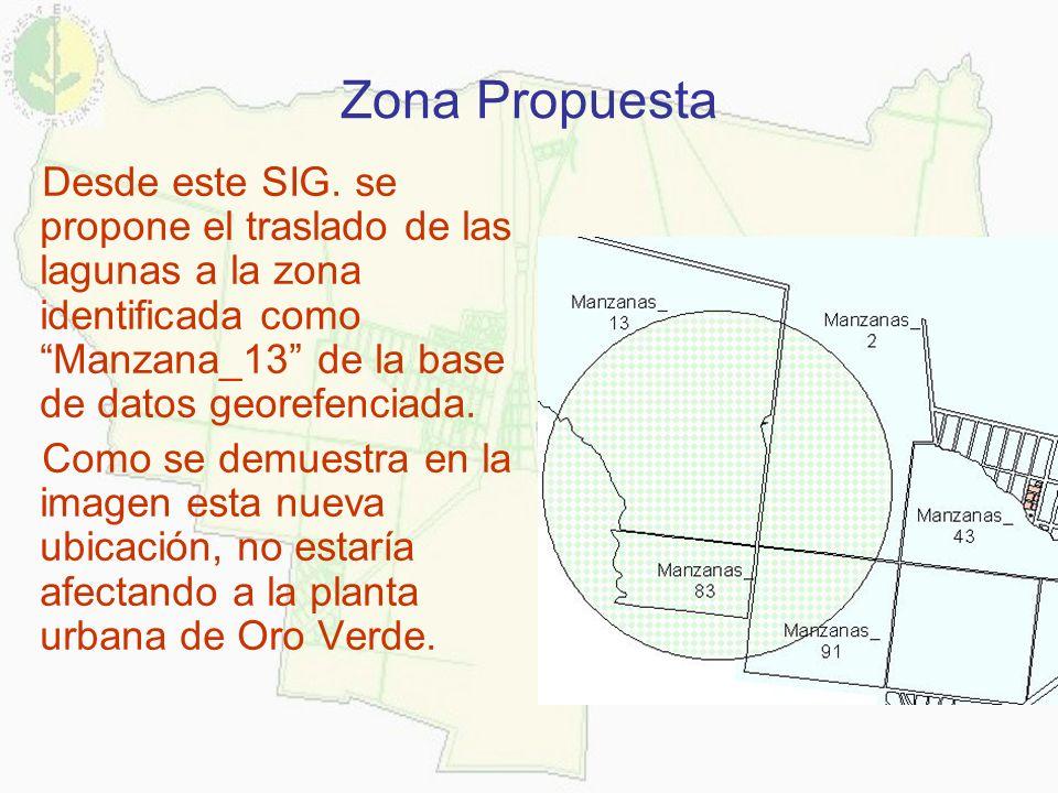 Zona Propuesta Desde este SIG. se propone el traslado de las lagunas a la zona identificada como Manzana_13 de la base de datos georefenciada. Como se