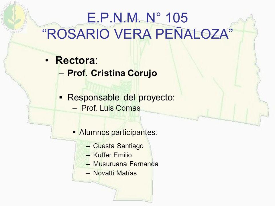 E.P.N.M. N° 105 ROSARIO VERA PEÑALOZA Rectora: –Prof. Cristina Corujo Responsable del proyecto: – Prof. Luis Comas Alumnos participantes: –Cuesta Sant