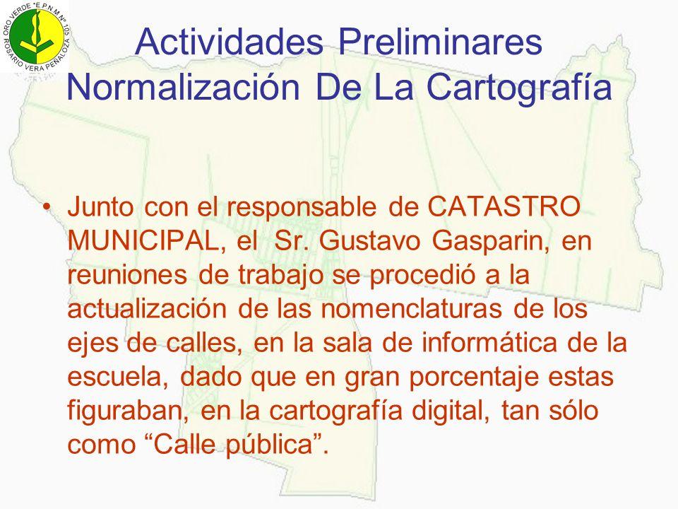 Actividades Preliminares Normalización De La Cartografía Junto con el responsable de CATASTRO MUNICIPAL, el Sr. Gustavo Gasparin, en reuniones de trab