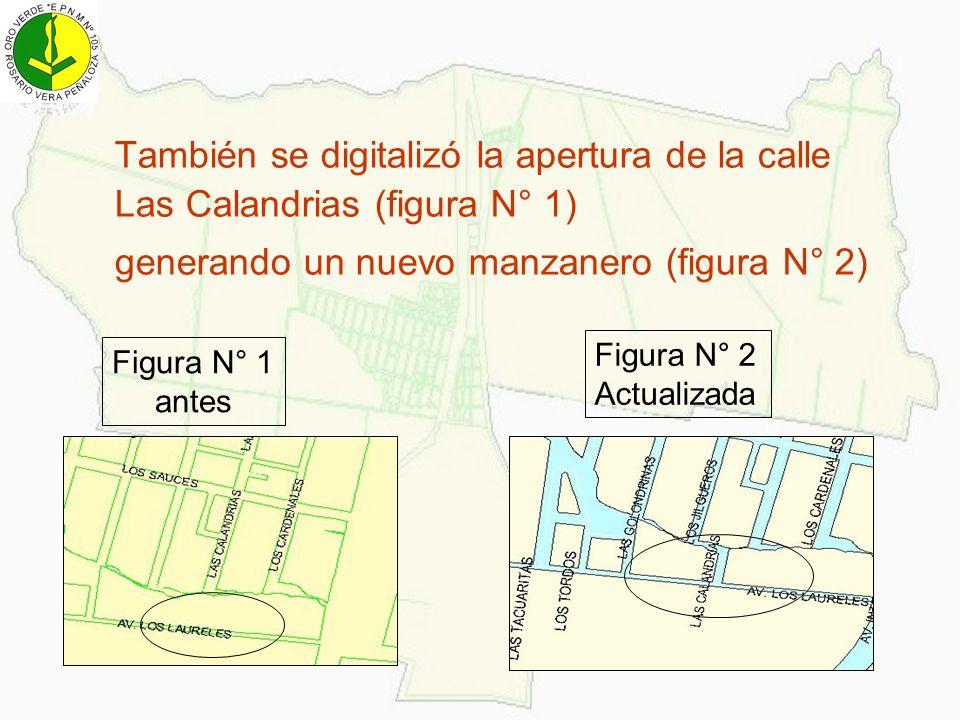 También se digitalizó la apertura de la calle Las Calandrias (figura N° 1) generando un nuevo manzanero (figura N° 2) Figura N° 1 antes Figura N° 2 Ac