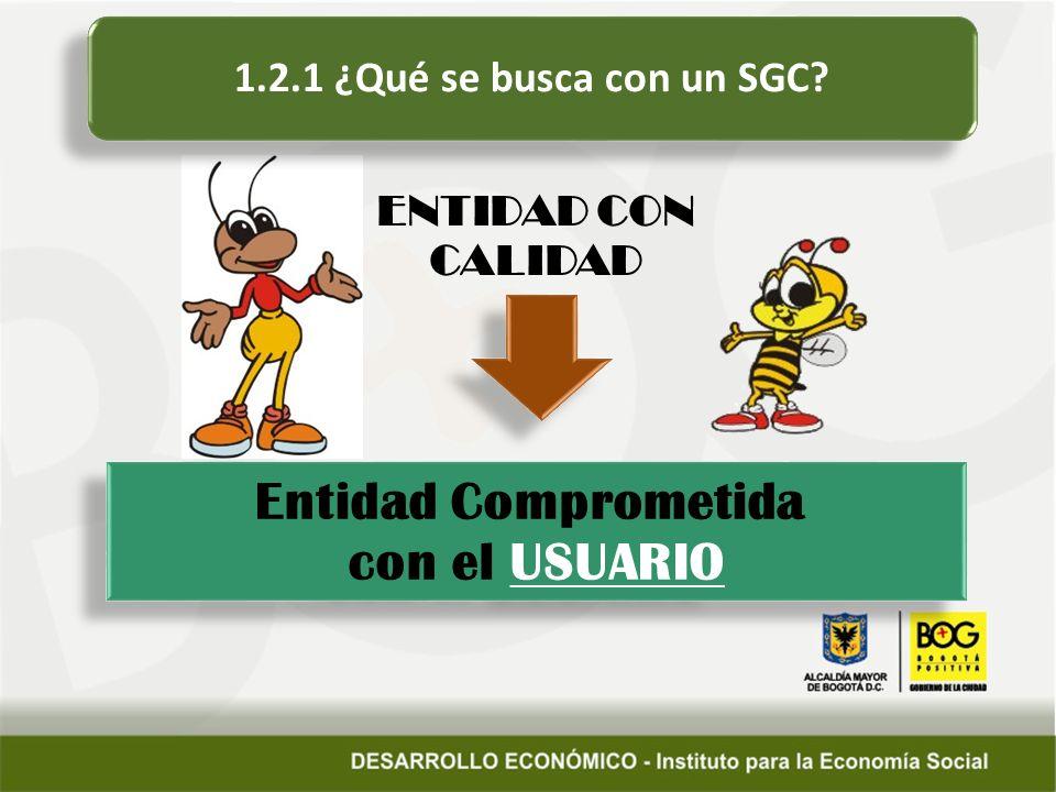 Entidad Comprometida con el USUARIO Entidad Comprometida con el USUARIO 1.2.1 ¿Qué se busca con un SGC.