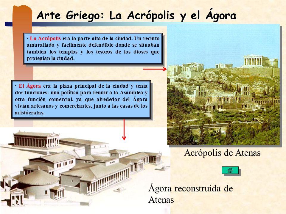 Arte Griego: La Acrópolis y el Ágora · La Acrópolis era la parte alta de la ciudad. Un recinto amurallado y fácilmente defendible donde se situaban ta