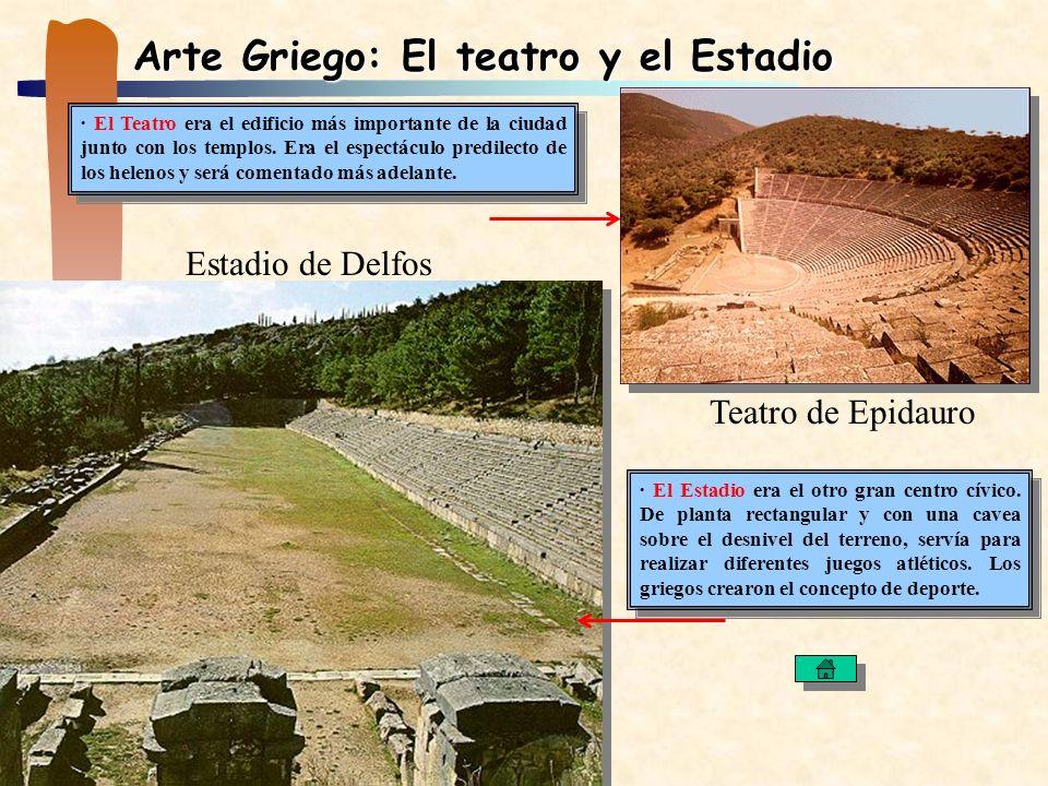 Arte Griego: El teatro y el Estadio · El Teatro era el edificio más importante de la ciudad junto con los templos. Era el espectáculo predilecto de lo