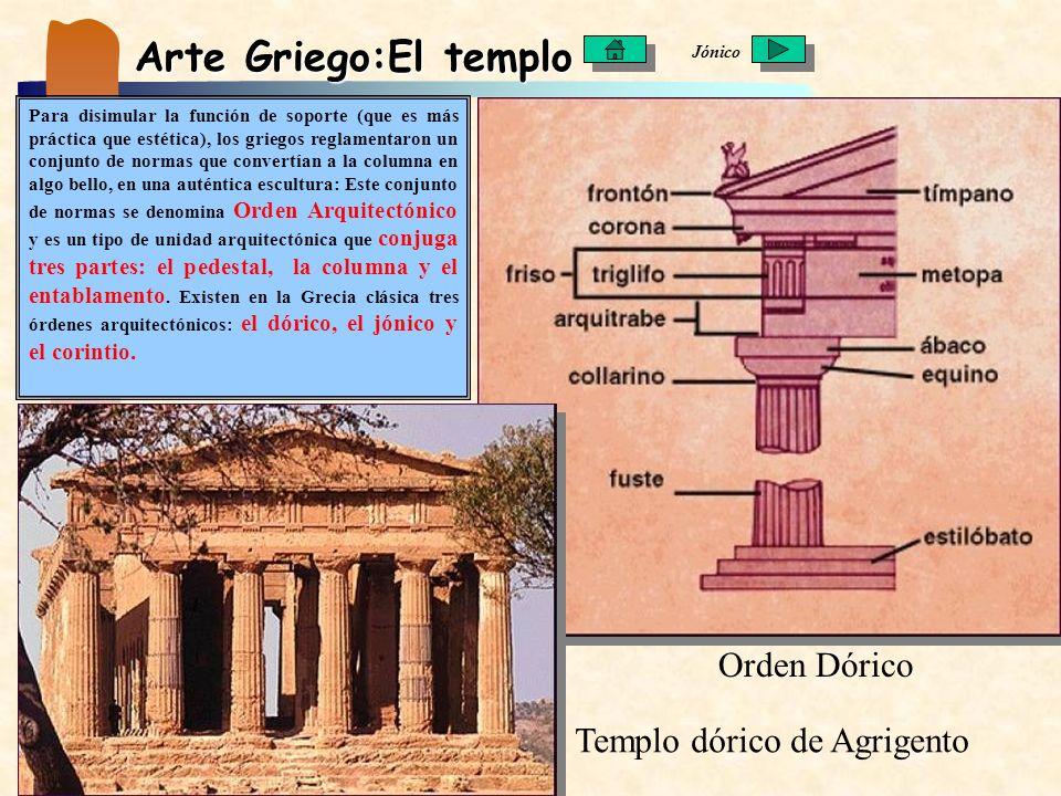 Arte Griego:El templo Para disimular la función de soporte (que es más práctica que estética), los griegos reglamentaron un conjunto de normas que con