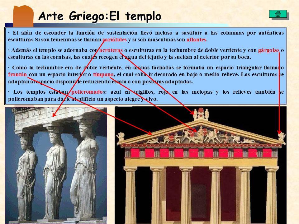 Arte Griego:El templo · El afán de esconder la función de sustentación llevó incluso a sustituir a las columnas por auténticas esculturas Si son femen
