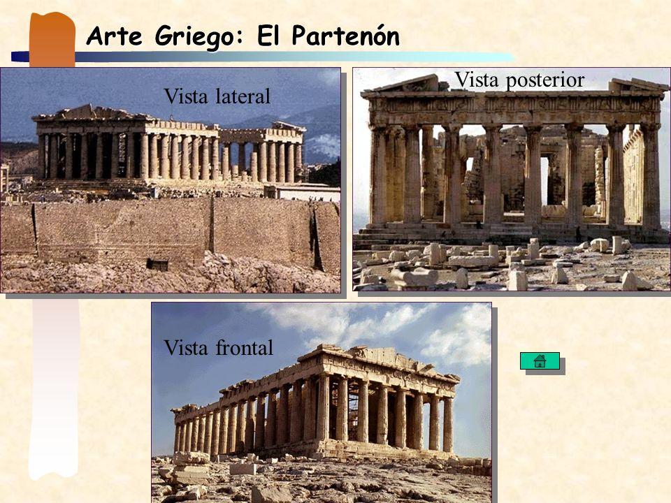 Arte Griego: El Partenón Vista lateral Vista frontal Vista posterior