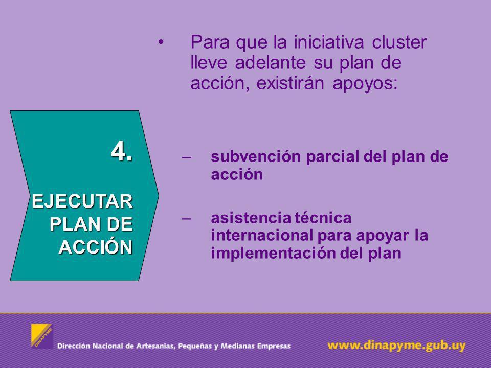 4.EJECUTAR PLAN DE ACCIÓN Para que la iniciativa cluster lleve adelante su plan de acción, existirán apoyos: –subvención parcial del plan de acción –asistencia técnica internacional para apoyar la implementación del plan