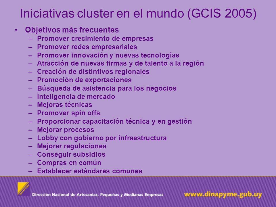 Iniciativas cluster en el mundo (GCIS 2005) Objetivos más frecuentes –Promover crecimiento de empresas –Promover redes empresariales –Promover innovac