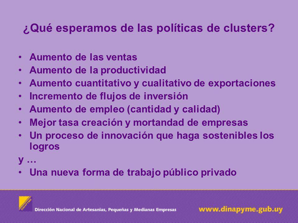 ¿Qué esperamos de las políticas de clusters? Aumento de las ventas Aumento de la productividad Aumento cuantitativo y cualitativo de exportaciones Inc