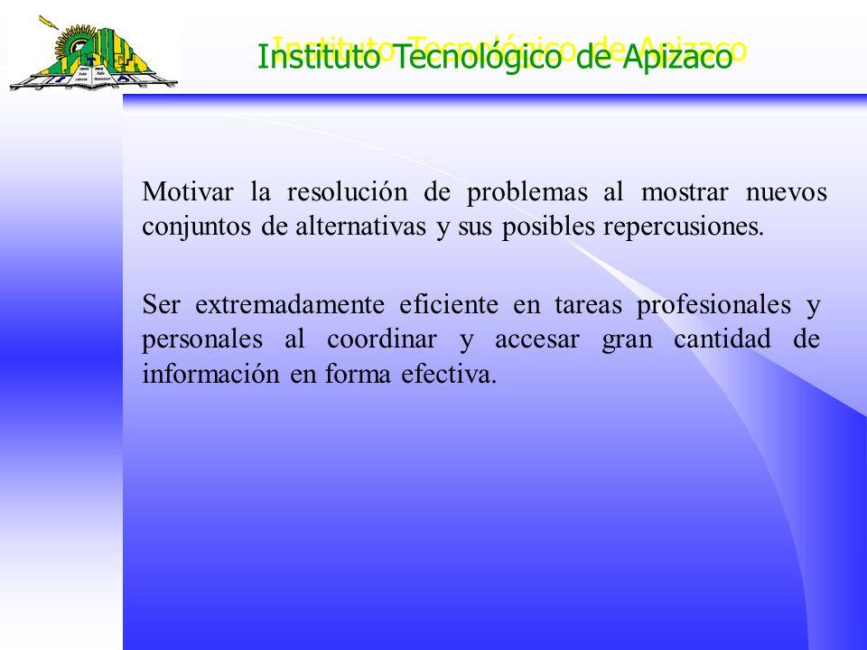 Instituto Tecnológico de Apizaco Motivar la resolución de problemas al mostrar nuevos conjuntos de alternativas y sus posibles repercusiones. Ser extr