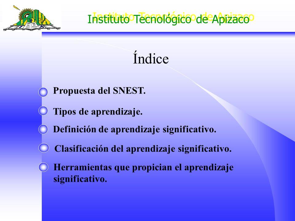 Instituto Tecnológico de Apizaco Índice Propuesta del SNEST. Tipos de aprendizaje. Definición de aprendizaje significativo. Clasificación del aprendiz