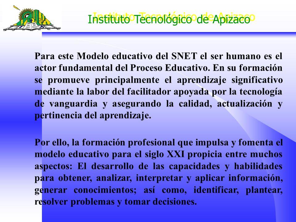 Instituto Tecnológico de Apizaco Para este Modelo educativo del SNET el ser humano es el actor fundamental del Proceso Educativo. En su formación se p