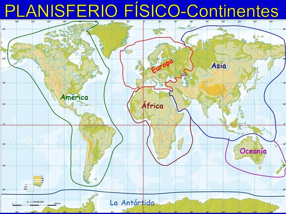 Europa Asia África América Oceanía La Antártida