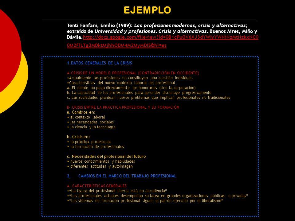 EJEMPLO Tenti Fanfani, Emilio (1989): Las profesiones modernas, crisis y alternativas; extraído de Universidad y profesiones. Crisis y alternativas. B