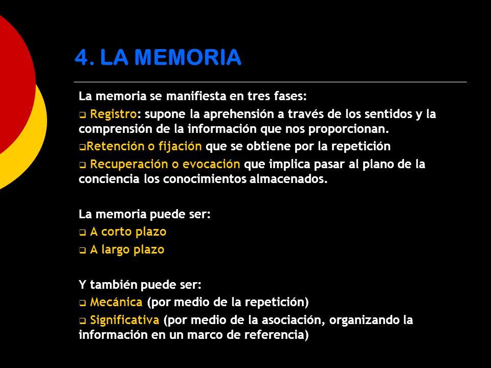 La memoria se manifiesta en tres fases: Registro: supone la aprehensión a través de los sentidos y la comprensión de la información que nos proporcion