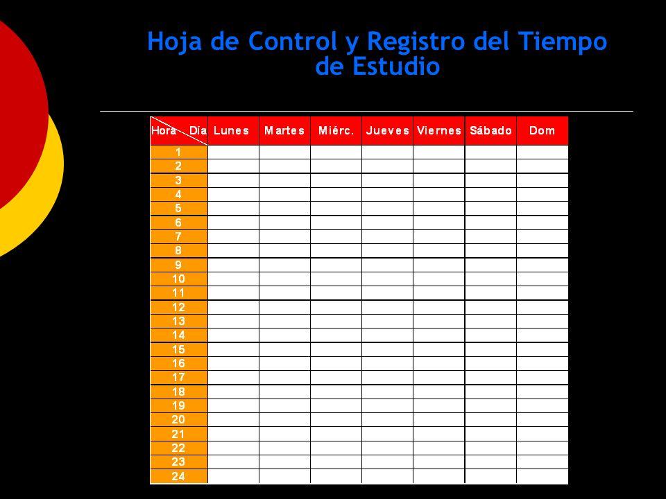 Hoja de Control y Registro del Tiempo de Estudio