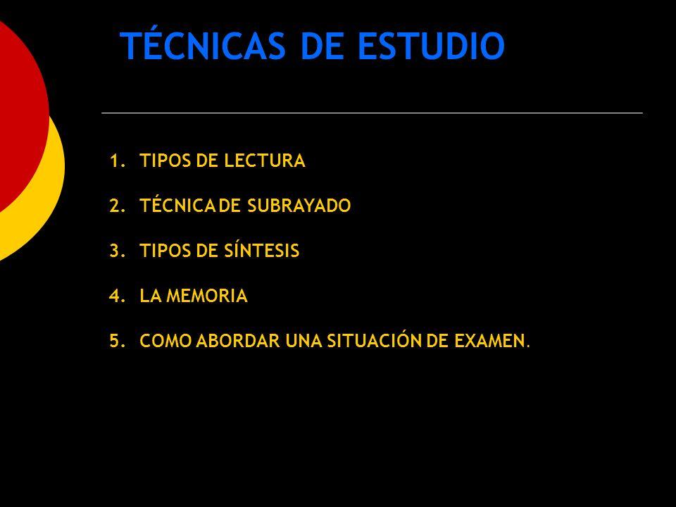 TÉCNICAS DE ESTUDIO 1. TIPOS DE LECTURA 2. TÉCNICA DE SUBRAYADO 3. TIPOS DE SÍNTESIS 4. LA MEMORIA 5. COMO ABORDAR UNA SITUACIÓN DE EXAMEN.