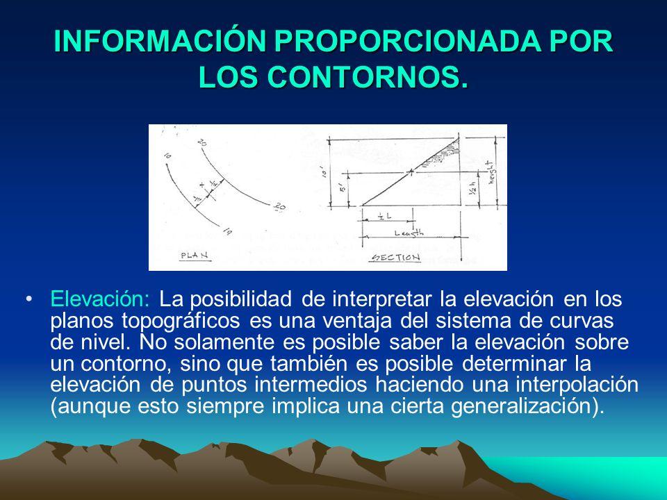 INFORMACIÓN PROPORCIONADA POR LOS CONTORNOS. Elevación: La posibilidad de interpretar la elevación en los planos topográficos es una ventaja del siste