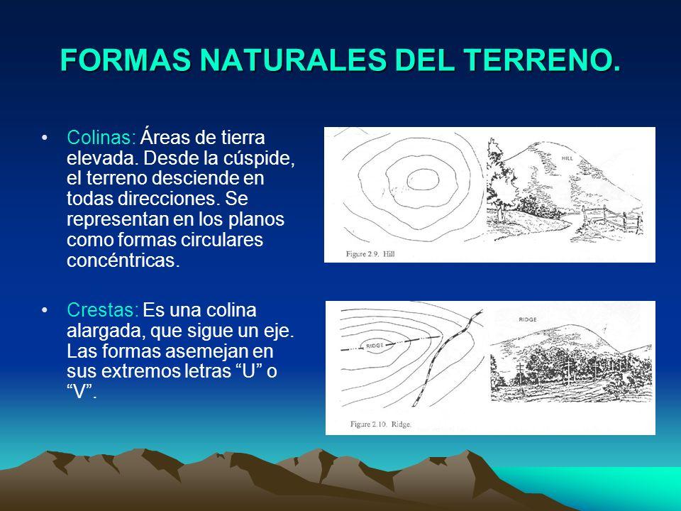 FORMAS NATURALES DEL TERRENO. Colinas: Áreas de tierra elevada. Desde la cúspide, el terreno desciende en todas direcciones. Se representan en los pla
