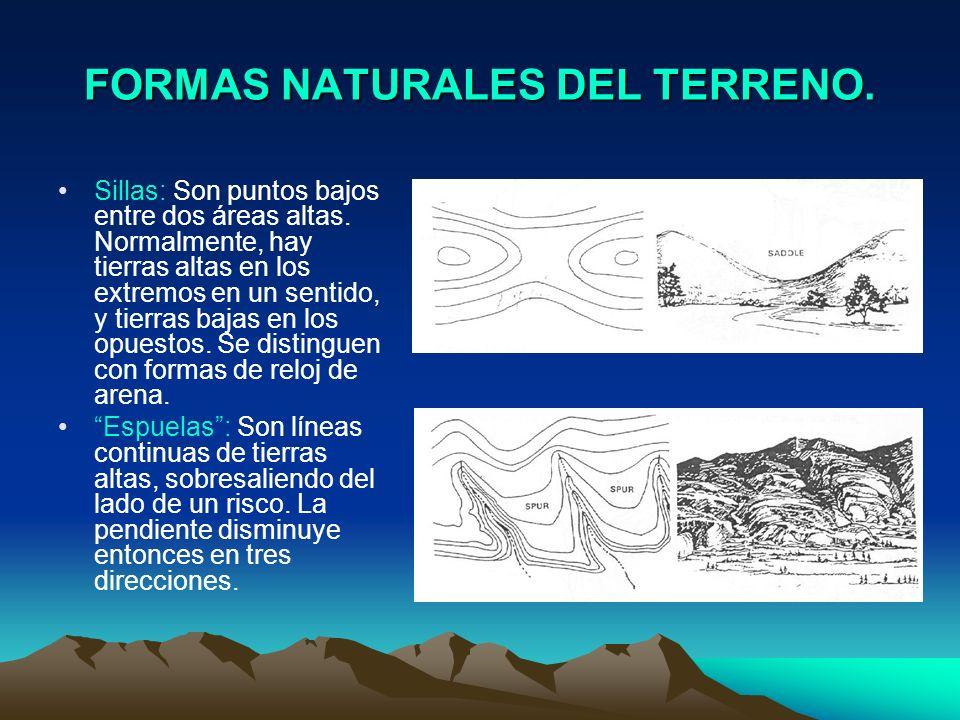 FORMAS NATURALES DEL TERRENO. Sillas: Son puntos bajos entre dos áreas altas. Normalmente, hay tierras altas en los extremos en un sentido, y tierras
