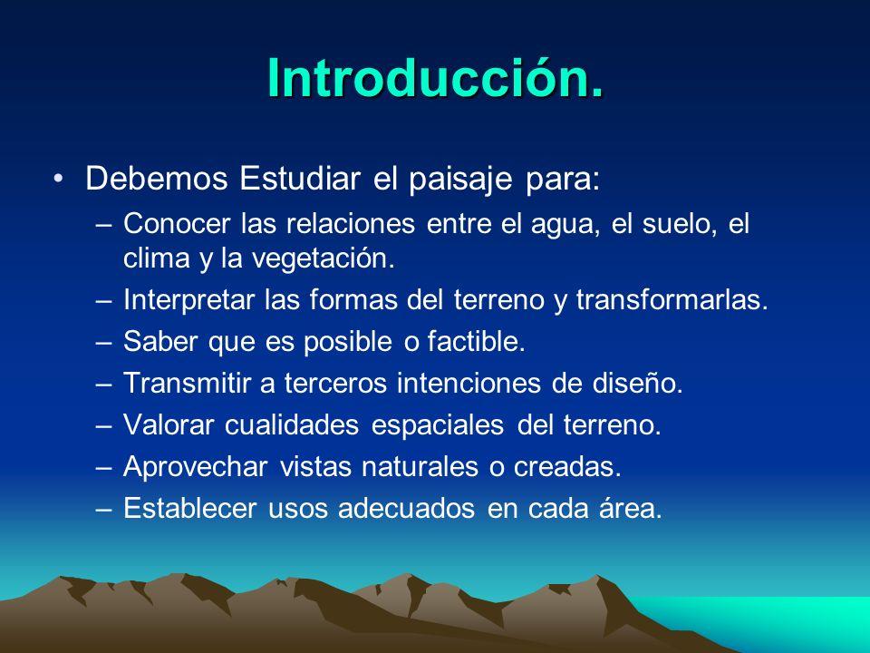 Introducción. Debemos Estudiar el paisaje para: –Conocer las relaciones entre el agua, el suelo, el clima y la vegetación. –Interpretar las formas del