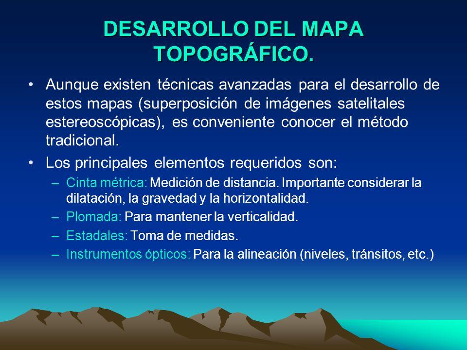 DESARROLLO DEL MAPA TOPOGRÁFICO. Aunque existen técnicas avanzadas para el desarrollo de estos mapas (superposición de imágenes satelitales estereoscó