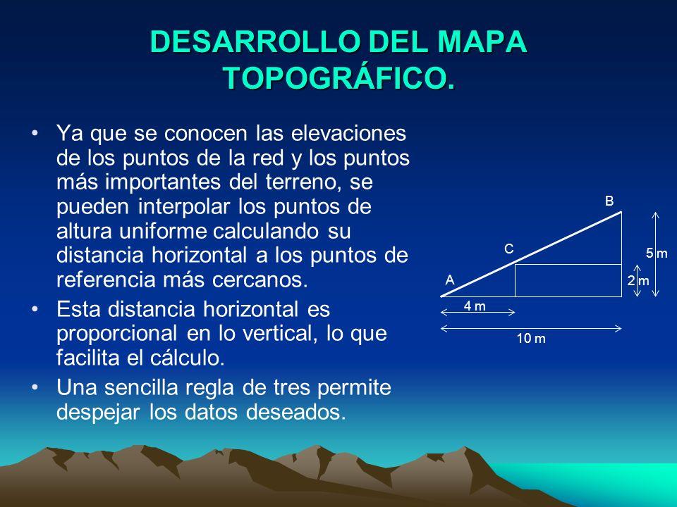 DESARROLLO DEL MAPA TOPOGRÁFICO. Ya que se conocen las elevaciones de los puntos de la red y los puntos más importantes del terreno, se pueden interpo