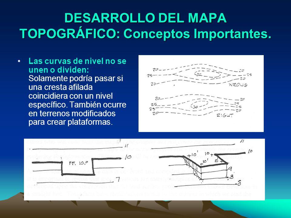 DESARROLLO DEL MAPA TOPOGRÁFICO: Conceptos Importantes. Las curvas de nivel no se unen o dividen: Solamente podría pasar si una cresta afilada coincid