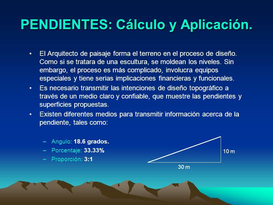 PENDIENTES: Cálculo y Aplicación. El Arquitecto de paisaje forma el terreno en el proceso de diseño. Como si se tratara de una escultura, se moldean l