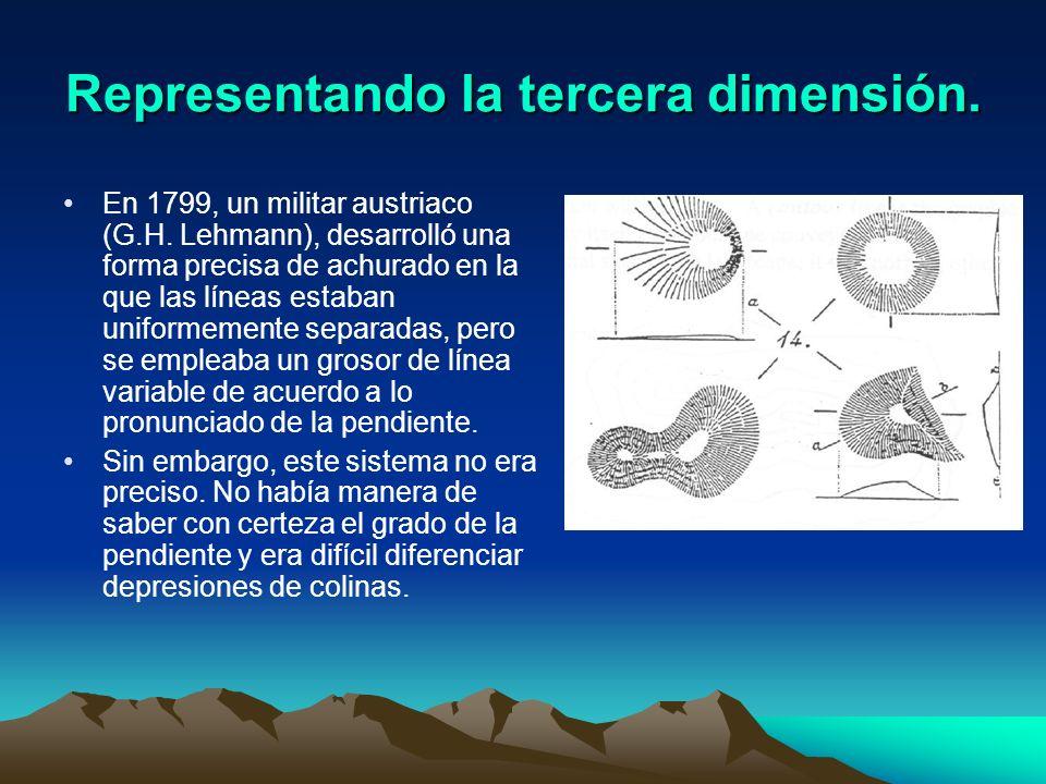 Representando la tercera dimensión. En 1799, un militar austriaco (G.H. Lehmann), desarrolló una forma precisa de achurado en la que las líneas estaba