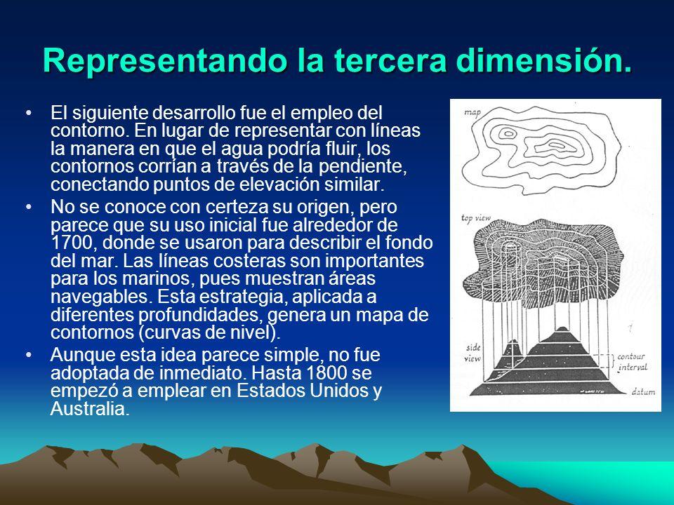 Representando la tercera dimensión. El siguiente desarrollo fue el empleo del contorno. En lugar de representar con líneas la manera en que el agua po