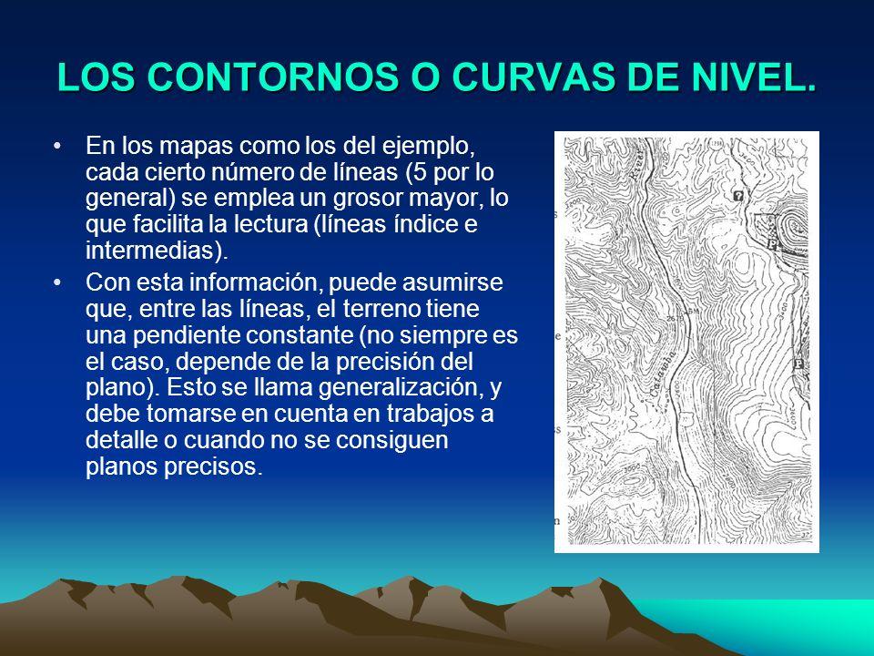 LOS CONTORNOS O CURVAS DE NIVEL. En los mapas como los del ejemplo, cada cierto número de líneas (5 por lo general) se emplea un grosor mayor, lo que
