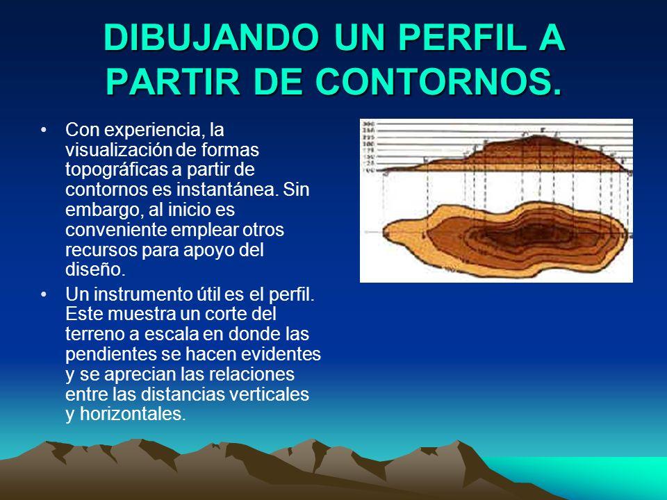 DIBUJANDO UN PERFIL A PARTIR DE CONTORNOS. Con experiencia, la visualización de formas topográficas a partir de contornos es instantánea. Sin embargo,