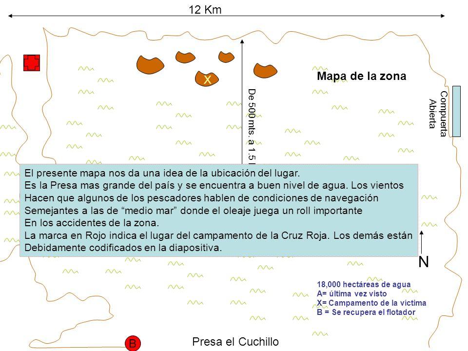 12 Km 18,000 hectáreas de agua A= última vez visto X= Campamento de la víctima B = Se recupera el flotador X A Compuerta Abierta Presa el Cuchillo N B 2do.