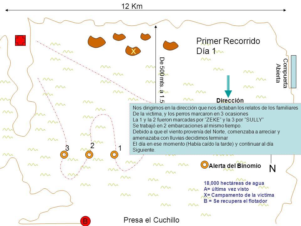 12 Km 18,000 hectáreas de agua A= última vez visto X= Campamento de la víctima B = Se recupera el flotador X A De 500 mts.