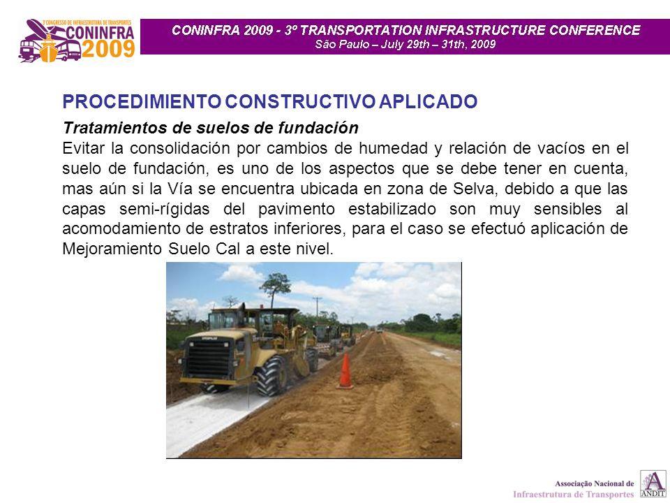 PROCEDIMIENTO CONSTRUCTIVO APLICADO Tratamientos de suelos de fundación Evitar la consolidación por cambios de humedad y relación de vacíos en el suel