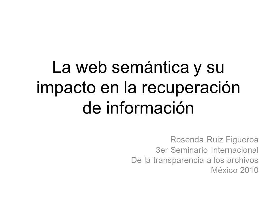 El proceso de recuperación de información en la Web Creación de contenidos Datos en la Web Resultados NO significativos Información Conocimiento Reporta El usuario transforma en